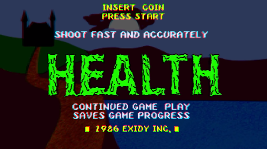 "Screenshot of intro sequence to music video for the song ""Judgement Night"" by HEALTH. The art style is made to look like the start sequence to an arcade cabinet game."