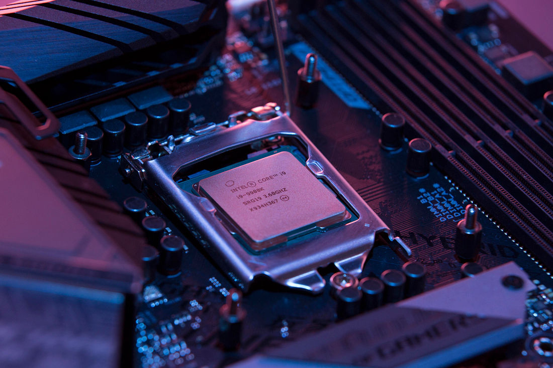 closeup of an Intel Core i9-9900K CPU
