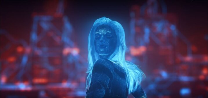 CGI alter-ego of singer Grimes as shown in her performance at The Game Awards